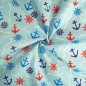 Polycotton Fabric Nautical Anchors Ropes Helms Boat Ships Sailor Sea Sky Blue