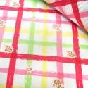 Polycotton Fabric Floral Flower Trellis Roses Squares Zig Zag Lines Pink