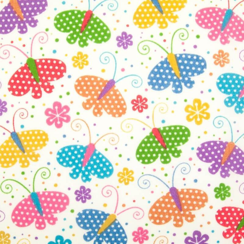 Polycotton Fabric Butterflies Spotty Polka Dots Flower Butterfly