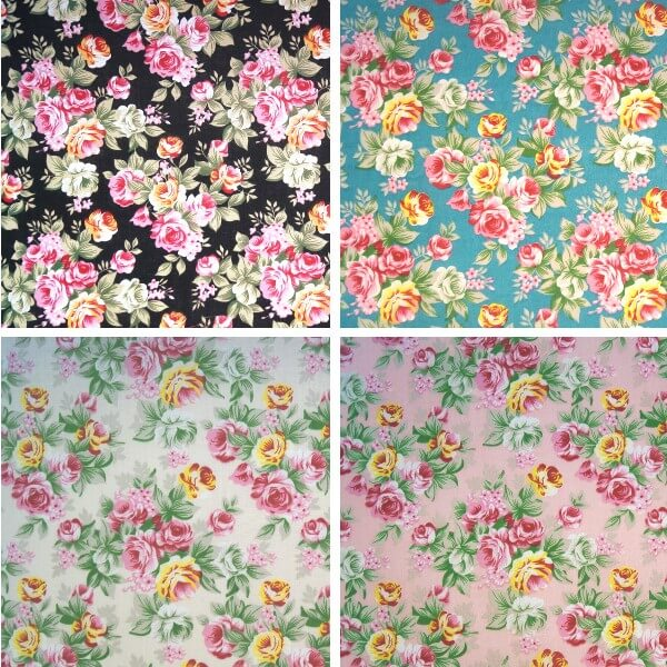 Pink Polycotton Fabric Pink Roses Bunches Floral Flowers Rose