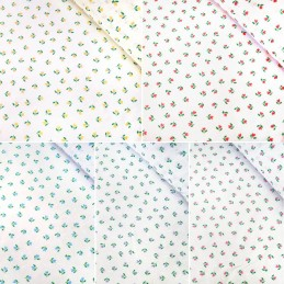 Polycotton Fabric Mini Tulips Floral Flower Heads Polka Dot Spot On White