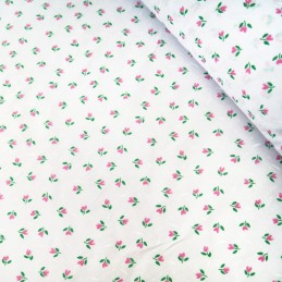 Polycotton Fabric Mini Tulips Floral Flower Heads Polka Dot Spot On White Pink