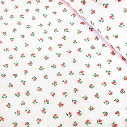 Polycotton Fabric Mini Tulips Floral Flower Heads Polka Dot Spot On White Red
