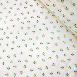 Polycotton Fabric Mini Tulips Floral Flower Heads Polka Dot Spot On White Yellow