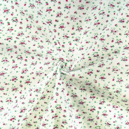 Miniature Ditsy Floral Flower Head Garden Toss Polycotton Fabric Pink