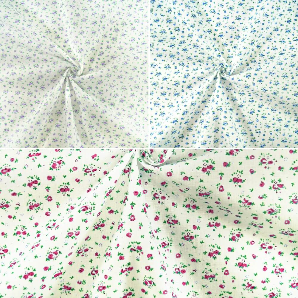 Miniature Ditsy Floral Flower Head Garden Toss Polycotton Fabric Pink