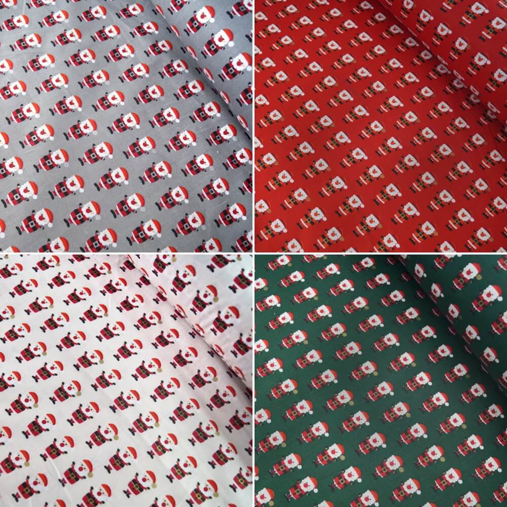 100% Cotton Fabric Lifestyle Christmas Santa Claus In Lines Silver