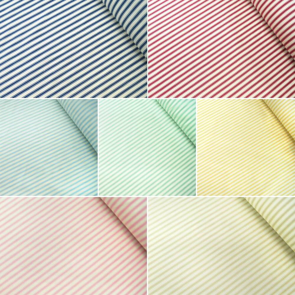 100% Cotton Poplin Fabric Rose & Hubble Ticking Stripes Fashion Pink