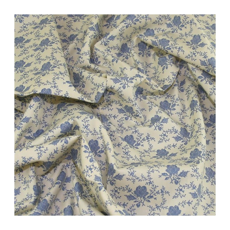 Delph 100% Cotton Poplin Fabric Rose & Hubble Shabby Chic Roses Floral Flowers