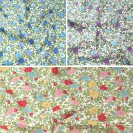 100% Cotton Poplin Fabric Rose & Hubble Colourful Flower Heads Floral