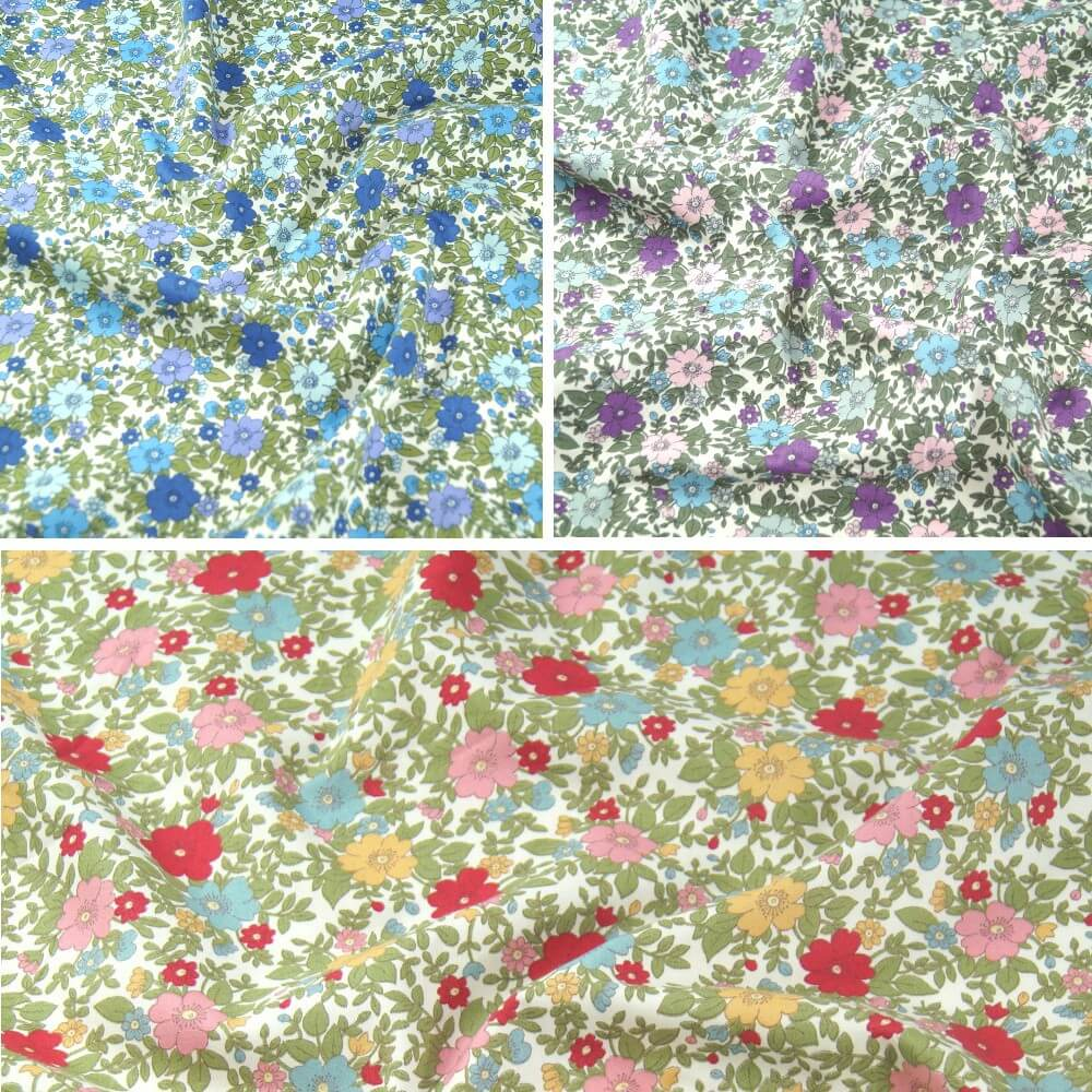 Red 100% Cotton Poplin Fabric Rose & Hubble Colourful Flower Heads Floral