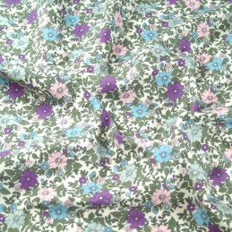 Lilac 100% Cotton Poplin Fabric Rose & Hubble Colourful Flower Heads Floral