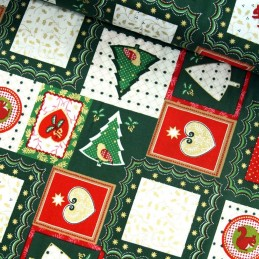100% Cotton Fabric Christmas Xmas Stamps Patchwork Squares 135cm Wide Green