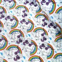 100% Cotton Poplin Fabric Proud & Beautiful Unicorns in a Cloudy Rainbow Sky Ivory