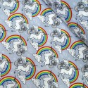 100% Cotton Poplin Fabric Proud & Beautiful Unicorns in a Cloudy Rainbow Sky Silver