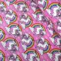 100% Cotton Poplin Fabric Proud & Beautiful Unicorns in a Cloudy Rainbow Sky Pink