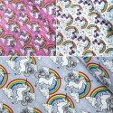 100% Cotton Poplin Fabric Proud & Beautiful Unicorns in a Cloudy Rainbow Sky