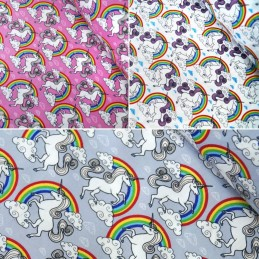 100% Cotton Poplin Fabric Rose & Hubble Unicorns Cloudy Rainbow Sky Unicorn
