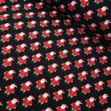 Cotton Elastane Jersey Stretch Fabric Father Christmas Santa Claus Xmas Festive Black