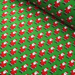 Cotton Elastane Jersey Stretch Fabric Father Christmas Santa Claus Xmas Festive Green