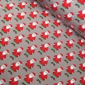 Cotton Elastane Jersey Stretch Fabric Father Christmas Santa Claus Xmas Festive Taupe