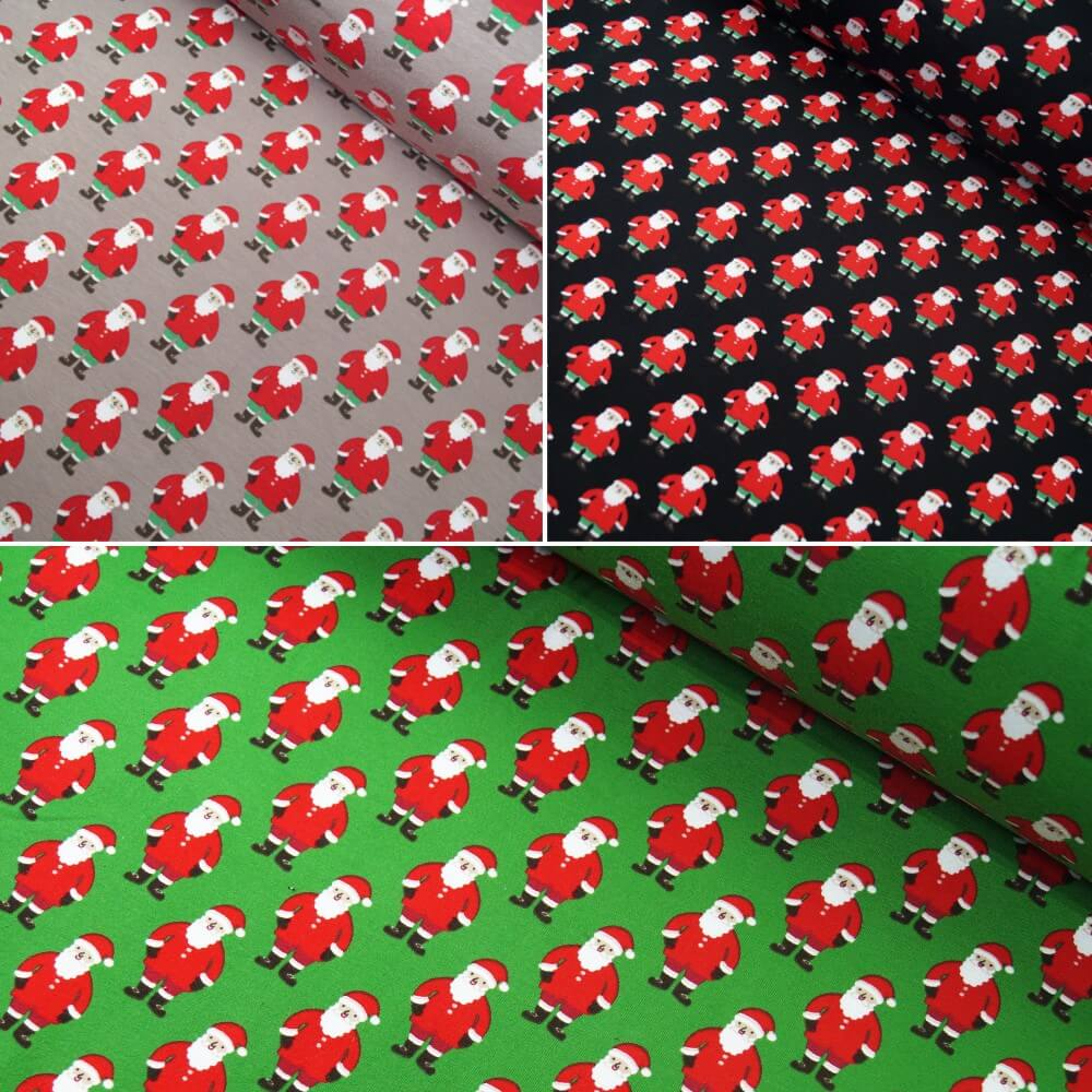 Cotton Elastane Jersey Stretch Fabric Father Christmas Santa Claus Xmas Festive Black