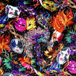100% Cotton Fabric Masquerade Mask Masked Ball Carnival Feathers 135cm Wide