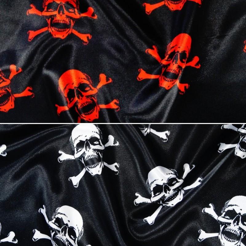 Polyester Satin Fabric Halloween Skulls & Crossbones Pirate Fancy Dress