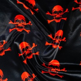 Polyester Satin Fabric Halloween Skulls & Crossbones Pirate Fancy Dress Red