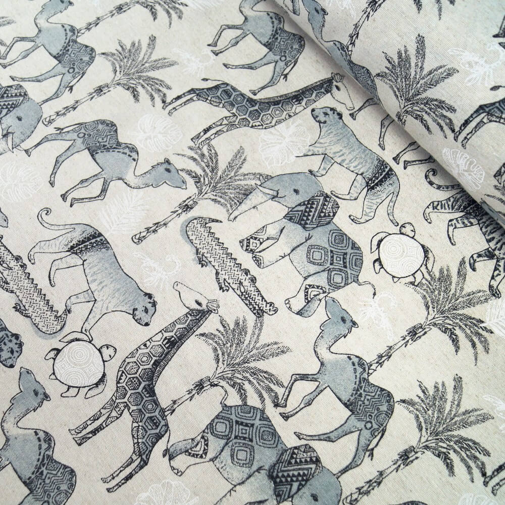 Linen Look Fabric Safari Animals Giraffe Crocodile Elephant Camel 135cm Wide
