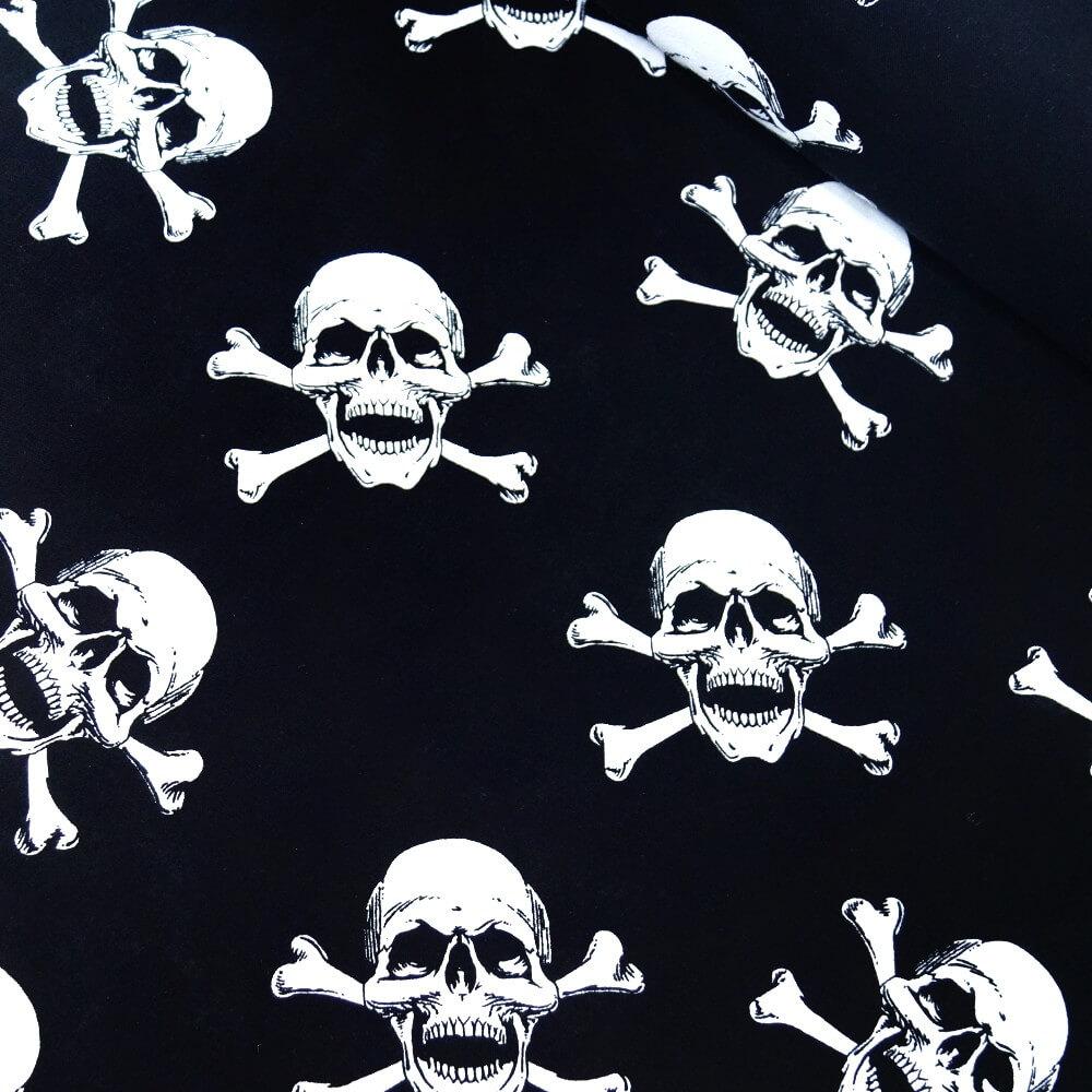 100% Cotton Fabric Skull & Crossbones Pirate Halloween Skeleton Black/White