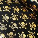 Polyester Fabric Holographic Foil Halloween Skulls & Crossbones Black
