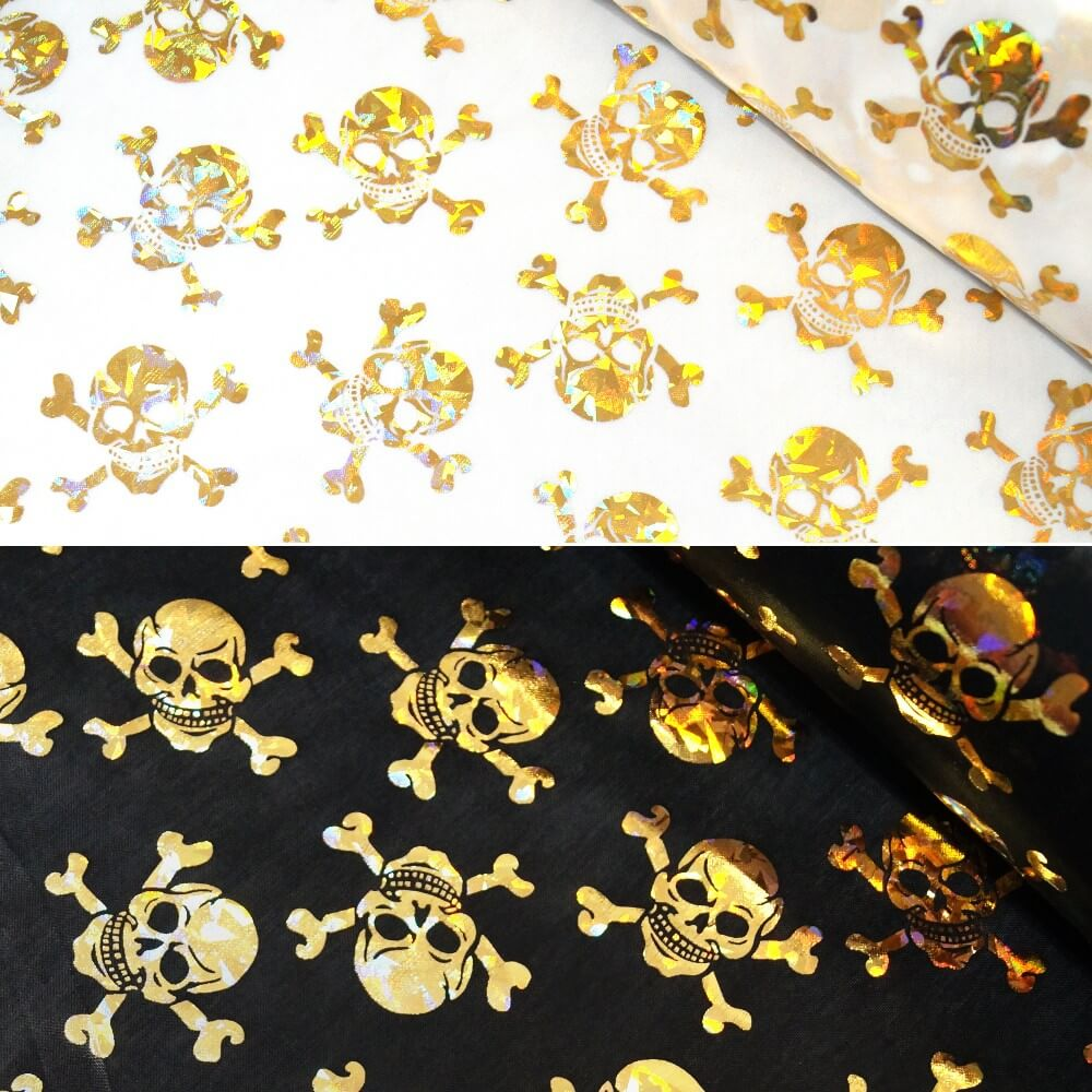 Polyester Fabric Holographic Foil Halloween Skulls & Crossbones White
