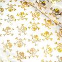 Polyester Fabric Holographic Foil Halloween Skulls & Crossbones White