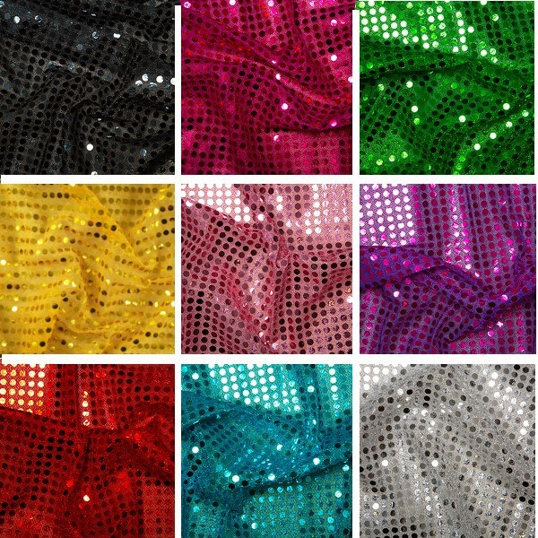 Black 6mm Sequin Shiny Sparkly Material Nylon Polyester Fabric Fancy Dress