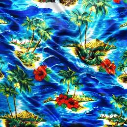 Polyester Satin Fabric Hawaiian Island Tropical Ocean Hibiscus Floral 145cm Wide