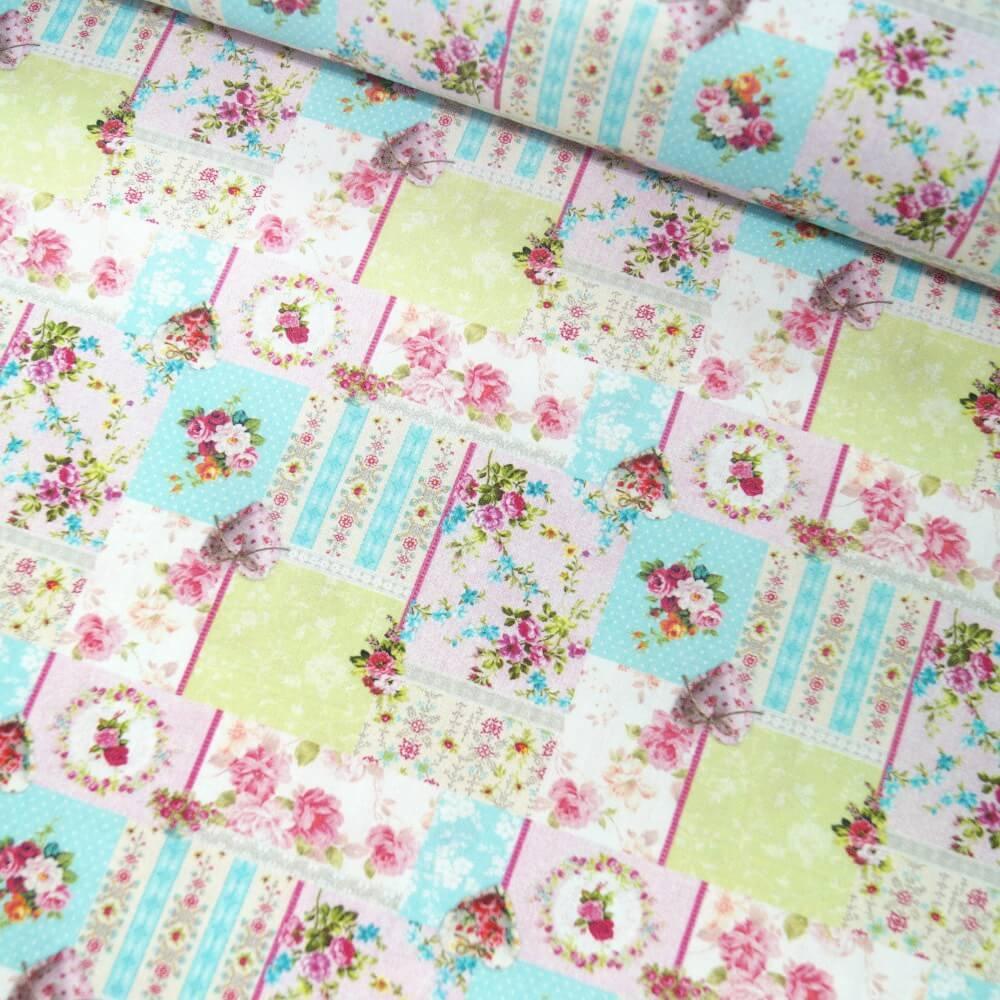 100% Cotton Fabric The Little Johnny Range Floral Patchwork 145cm Wide
