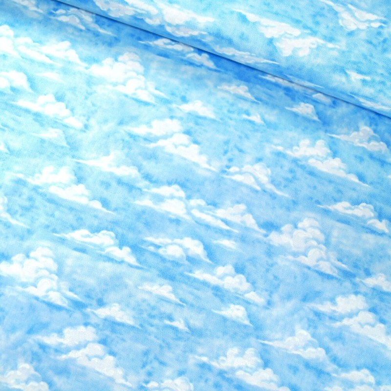 100% Cotton Fabric By Nutex Sky Clouds On Light Blue