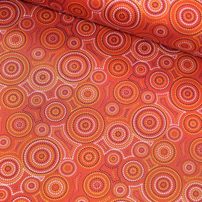 100% Cotton Patchwork Fabric Nutex Geometric Dots Concentric Circles Malkamalka Red