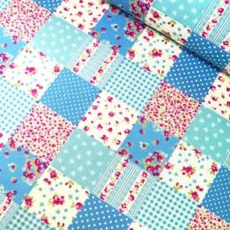 100% Cotton Poplin Fabric Rose & Hubble Floral Patchwork Polka Dots Squares Light Blue