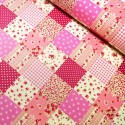 100% Cotton Poplin Fabric Rose & Hubble Floral Patchwork Polka Dots Squares Pink