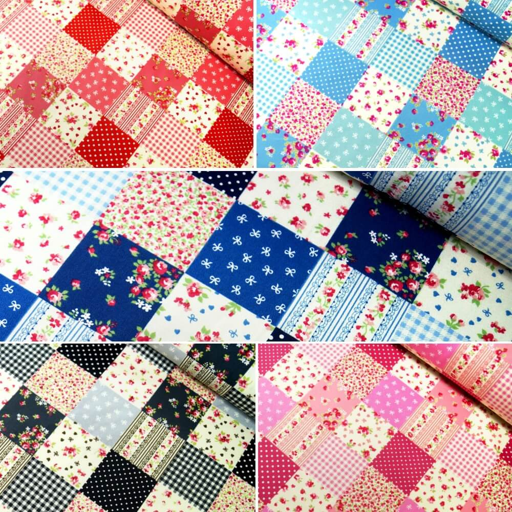 100% Cotton Poplin Fabric Rose & Hubble Floral Patchwork Polka Dots Squares Grey
