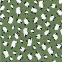 100% Cotton Poplin Fabric Adult Sheep Little Lambs Farm Animal Sage Green