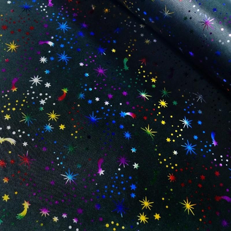 100% Polyester Fabric Metallic Foil Shooting Stars Halloween Satin 150cm Wide