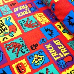 100% Cotton Fabric Halloween Trick or Treat Spooky Frankenstein 140cm Wide Red