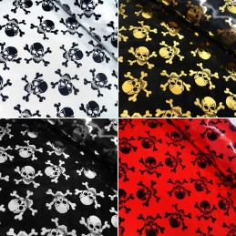 100% Polyester Satin Fabric Foil Skulls & Crossbones Halloween 150cm Wide
