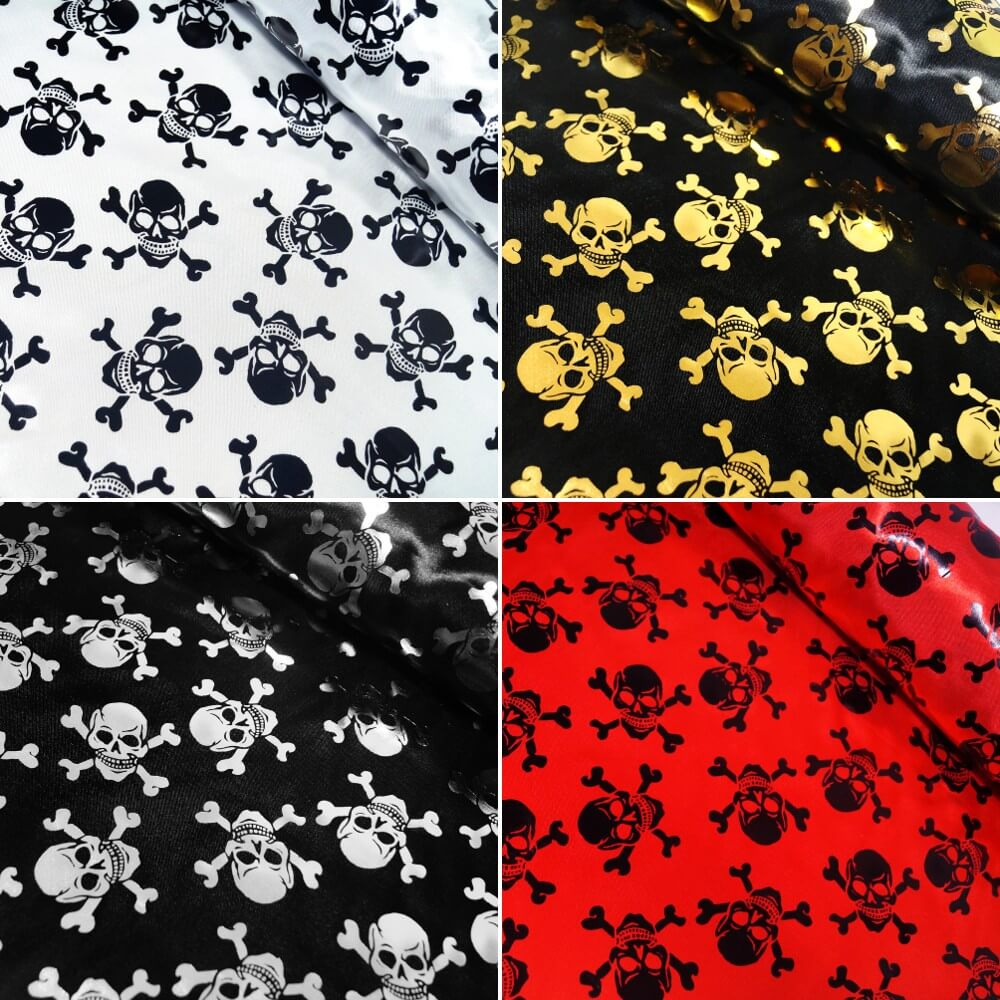 100% Polyester Satin Fabric Foil Skulls & Crossbones Halloween 150cm Wide Gold On Black