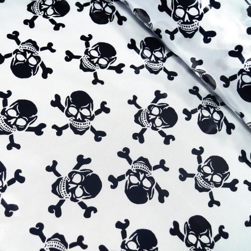 100% Polyester Satin Fabric Foil Skulls & Crossbones Halloween 150cm Wide Black On White