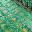 Brocade Chinese Traditional Style Embroidered Silky Satin Fabric Bottle Green