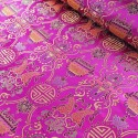 Brocade Chinese Traditional Style Embroidered Silky Satin Fabric Cerise